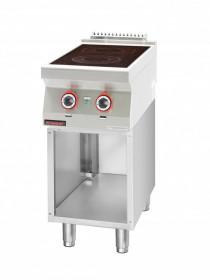 Kuchnia elektryczna ceramiczna 2 pola 1x2,1kW + 1x2,0kW na podstawie szafkowej otwartej