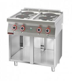 Kuchnia elektryczna 4 płyty okrągłe 4x2,6kW na podstawie szafkowej otwartej