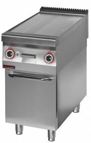Płyta grillowa elektryczna ryflowana chromowana 450 mm 6,0kW na podstawie szafkowej zamkniętej