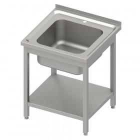 Stół nierdzewny ze zlewem 1-kom.,z półką 600x600x850 mm spawany