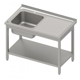 Stół nierdzewny ze zlewem z lewej strony i ociekaczem z prawej, z półką dolną 1000x600x850 mm spawany