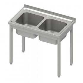 Stół nierdzewny ze zlewem 2-kom., bez półki 1000x600x850 mm skręcany