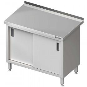 Stół nierdzewny zabudowany przyścienny, z drzwiami suwanymi 1200x600x850 mm