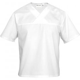 Gastronomiczna bluza w serek biała krótki rękaw L unisex