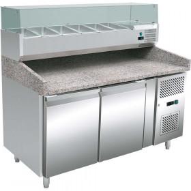 Stół chłodniczy do pizzy, 2 drzwiowy, 600X400, nadstawa chłodnicza, 428 l