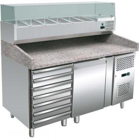 Stół chłodniczy 1 drzwiowy, 600X400 mm, do pizzy z szufladami i nadstawą