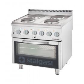 Gastronomiczna kuchnia elektryczna 4 palnikowa wym. 800x700x850 z piekarnikiem elektrycznym 10,4+7 kW (3 systemy grzania)