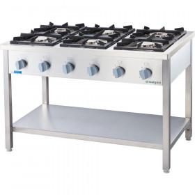 Kuchnia gastronomiczna gazowa wolnostojąca 6 palnikowa z półką 36.5 kW - G30 (propan-butan)