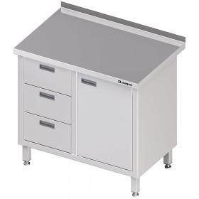 Stół przyścienny z blokiem trzech szuflad (L),drzwi skrzydłowe 1000x600x850 mm