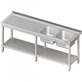 Stół ze zlewem 2-kom.(P),z półką 2100x600x850 mm