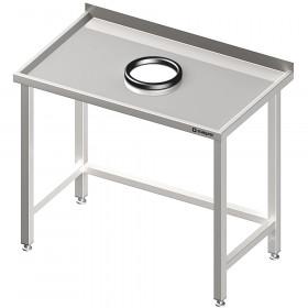 Stół przyścienny bez półki 800x700x850 mm, z otworem na odpadki