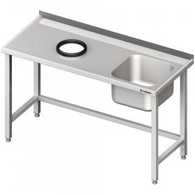 Stół przyścienny ze zlewem, bez półki z otworem 1300x600x850 mm, 1 komora po prawej spawany