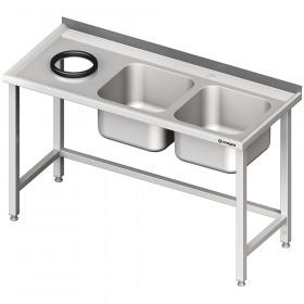 Stół przyścienny ze zlewem bez półki z otworem 1400x600x850 mm, 2-komory po prawej spawany