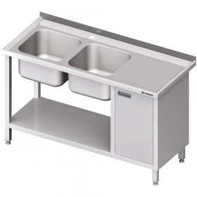 Gastronomiczny Stół ze zlew 2-kom.(L), z szafką i półką 1900x600x850 mm