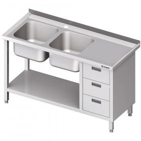 Stół ze zlewem 2-kom.(L), z blokiem trzech szuflad i półką 1900x700x850 mm