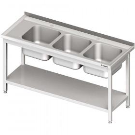 Stół ze zlewem 3-kom.(P),z półką 1700x700x850 mm spawany