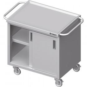 Gastronomiczny Wózek z szafką, drzwi suwane 1100x600x850 mm