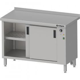 Gastronomiczny Stół przyścienny, z szafką grzewczą,drzwi suwane 1500x700x850 mm