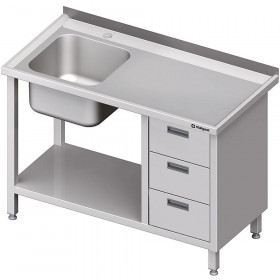 Stół ze zlewem 1-kom.(L), z blokiem trzech szuflad i półką 1600x700x850 mm