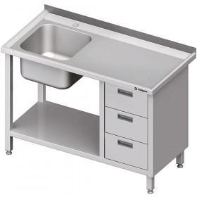 Stół ze zlewem 1-kom.(L), z blokiem trzech szuflad i półką 1800x700x850 mm