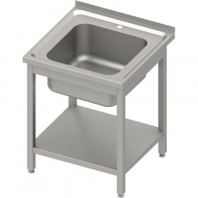 Stół ze zlewem 1-kom.z półką 600x600x850 mm spawany, blat tłoczony