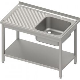 Stół ze zlewem 1-kom.(P),z półką 1400x600x850 mm spawany, blat tłoczony