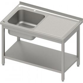 Stół ze zlewem 1-kom.(L),z półką 800x600x850 mm spawany, blat tłoczony