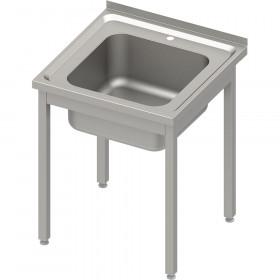 Stół ze zlewem 1-kom.,bez półki 600x600x850 mm skręcany, blat tłoczony
