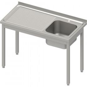Stół ze zlewem 1-kom.(P),bez półki 800x600x850 mm spawany, blat tłoczony