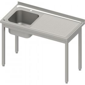 Stół ze zlewem 1-kom.(L),bez półki 800x600x850 mm skręcany, blat tłoczony