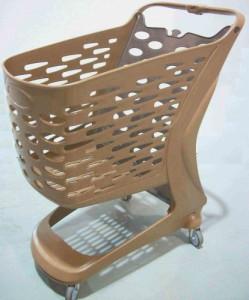 Wózek sklepowy plastikowy Rabtrolley 80 L- Efekt drewna