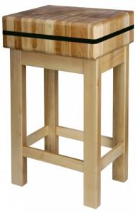 Kloc masarski drewniany na podstawie drewnianej 50x50x20 cm (h)