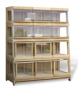 Regał piekarniczy 12 - szufladowy z szufladami z drewna BK