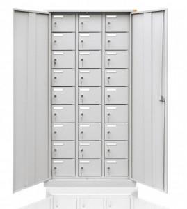 Szafa socjalna biurowa metalowa 27-skrytkowa z drzwiami uchylnymi BUS/27