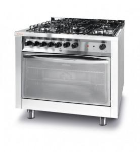 Kuchnia gastronomiczna gazowa 5-palnikowa z konwekcyjnym piekarnikiem elektrycznym z grillem Revolution