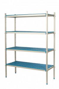 Regał aluminiowo-polipropylenowy, 4 półkowy, 870x500x1750 mm | ALUSHELF