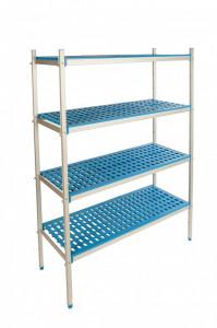 Regał aluminiowo-polipropylenowy, 4 półkowy, 870x400x1750 mm | ALUSHELF