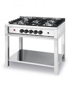 Kuchenka gastronomiczna gazowa - 5-palnikowa Kitchen Line na podstawie otwartej