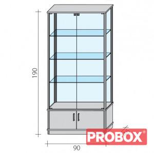 Gablota 2-drzwiowa przeszklona całkowicie z szafką z drzwiczkami