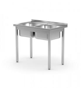 Stół z dwoma zlewami skręcany o wym. 1000x600x(H)850 mm