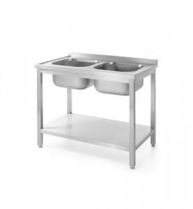 Stół z dwoma zlewami i półką skręcany 1000x600x(H)850 mm