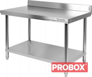 Stół nierdzewny z półką i wysokim rantem od ściany 1000x600xH850+100 mm Yato Gastro