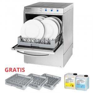 Gastronomiczna Zmywarka uniwersalna 400/230V z dozownikiem płynu myjącego, pompą zrzutową i pompą wspomagającą płukanie