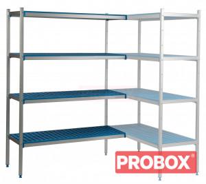 Regał narożny aluminiowo-polipropylenowy, 4 półkowy 740x400x1750mm
