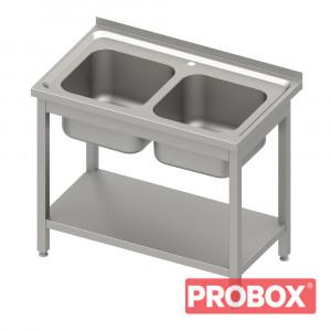 Zlew gastronomiczny 2-komory, z półką 1000x600x850 mm spawany