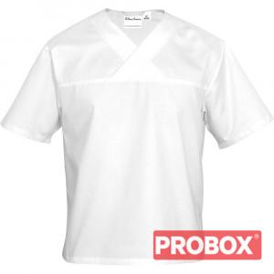 Bluza w serek biała krótki rękaw XL unisex