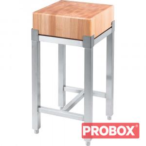 Pieniek Kloc masarski drewniany 400x400x850 mm na podstawie ze stali nierdzewnej