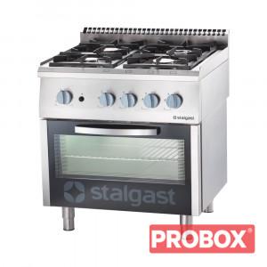 Gastronomiczna Kuchnia gazowa 4 palnikowa wym. 800x700x850 z piekarnikiem gazowym 20,5+5 kW - G20