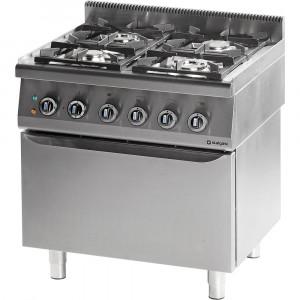Kuchnia gastronomiczna gazowa 4 palnikowa wym. 800x700x850 z piekarnikiem elektrycznym 20,5+7 kW (statyczny) - G20 (GZ50)