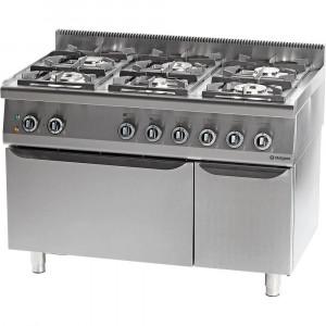 Kuchnia gastronomiczna gazowa 6 palnikowa z piekarnikiem elektrycznym 36.5kW (zestaw) - G20